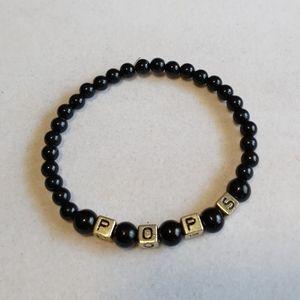 Black & Gold Beaded POPS Letter Bracelet
